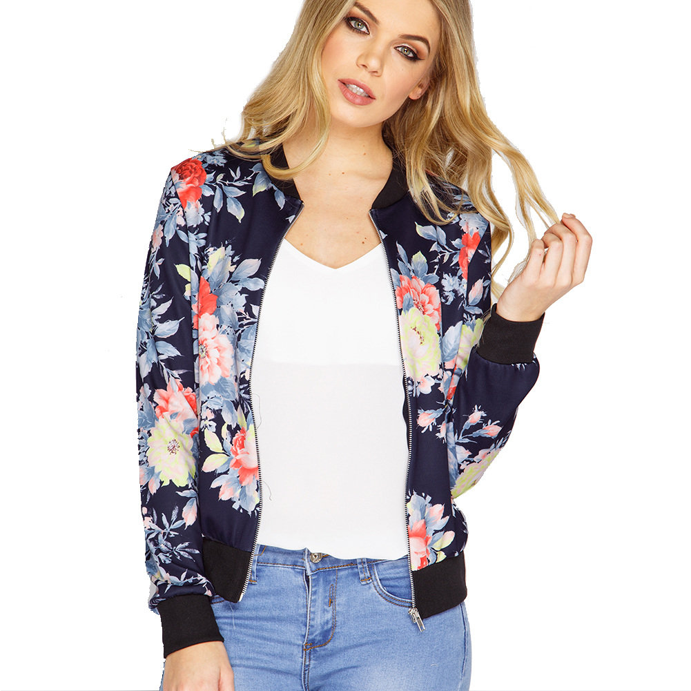 2017 New Bomber Jacket Print Flowers Women Blue Souvenir Jacket Coat Casual Baseball Jacket Sukajan Zipper chaquetas mujer