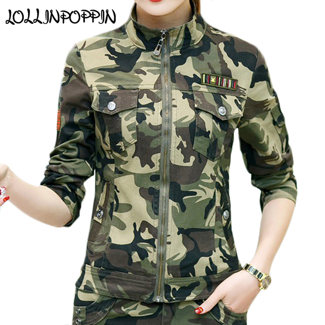 f772fce412676 Womens Military Camouflage Jacket With Chest Flap Pockets Stand Collar  Ladies Army Coat Flag Badge At Sleeve Slim Camo Jackets