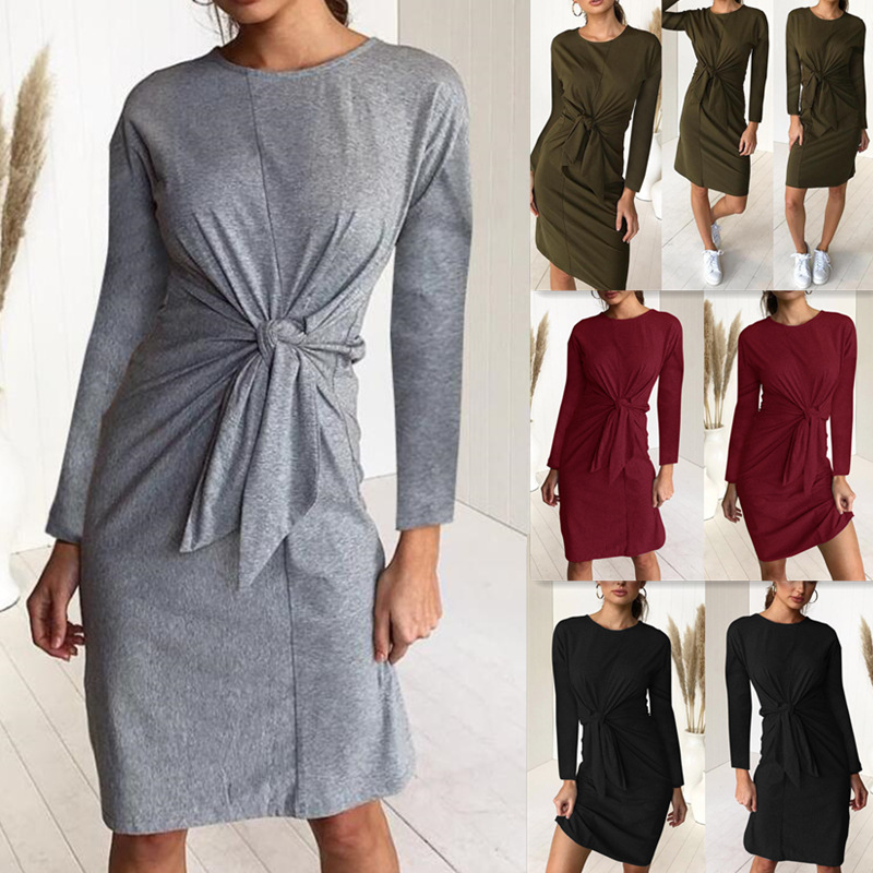Autumn Chest Tie Bow Women Dress Sexy Casual Solid O-Neck Long Sleeve Ladies Dresses 2018 New Fashion Winter Female Vestiods