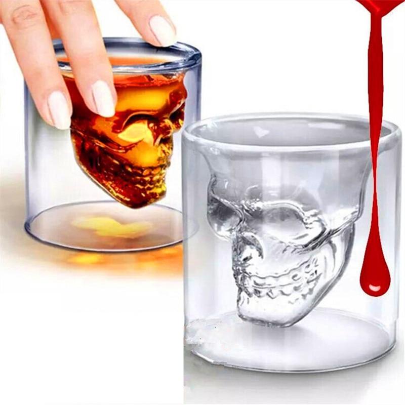 magic transparent glass skull mugs coffee cups bilayer bar wine beer