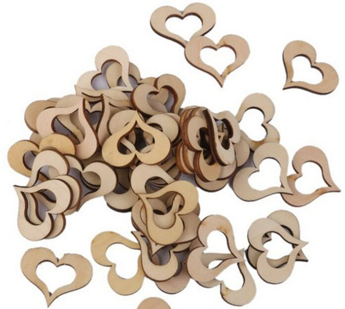 50 unids corazón de madera botones para el festival del banquete de boda rústica