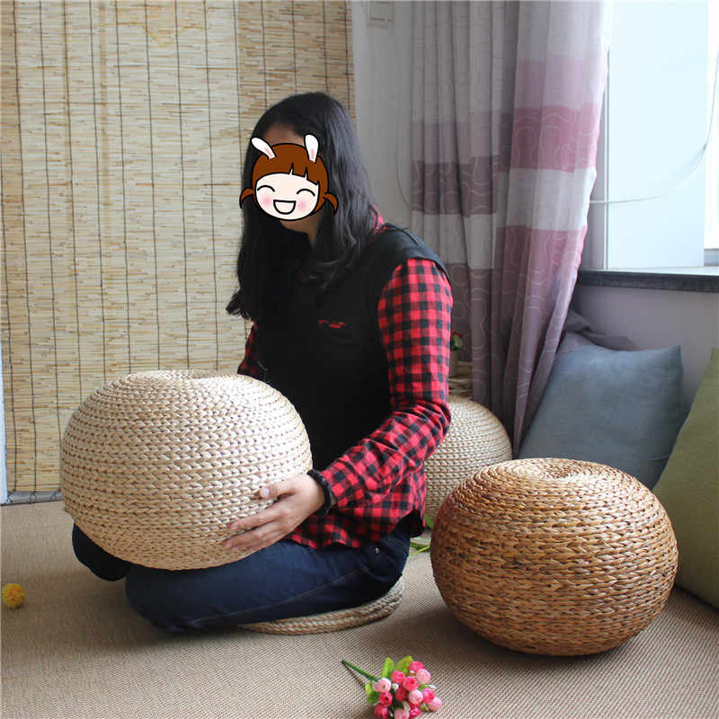 Miraculous Spherical Round Straw Stool Sitting Seat Living Room Stool Japanese Style Rattan Cushion Natural Hand Woven Foot Stool Gamerscity Chair Design For Home Gamerscityorg