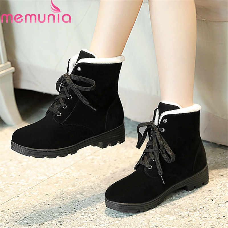 MEMUNIA 2020 yeni varış yarım çizmeler kadınlar için akın yuvarlak ayak dantel kadar kış kar botları rahat rahat ayakkabılar kadın