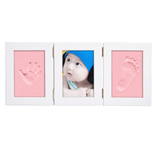 Cute Newborn Baby Photo Frame Set DIY Handprint/Footprint Soft Clay Safe Inkpad non toxic Picture Frame Best Gift for Baby