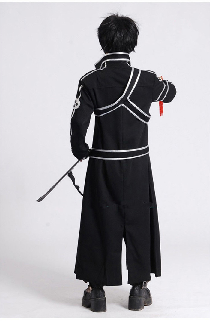 Image 5 - Sword Art Online SAO Kirito Kirigaya Kazuto Robe Cosplay Costumes Long Overcoat Trench Coat ( Cloak + Belt + Shoulder straps )-in Anime Costumes from Novelty & Special Use