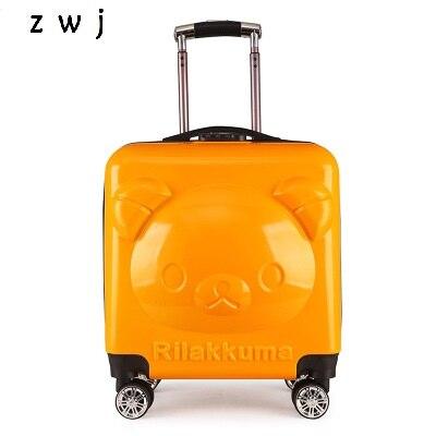 Cartoon niedźwiedź 3D toczenia bagażu dla chłopców i dziewcząt dzieci walizka podróżna dla dzieci bagażu w Walizka na kółkach od Bagaże i torby na  Grupa 1