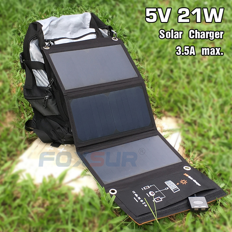 FOXSUR 5V 21W Outdoor Solar Charger Panel 5V 3.5A max. Foldable charger, Portable Dual Output travel Charger,No man's land use 15w 21w portable waterproof solar charging panel usb solar charger foldable 5v outdoor charger panel