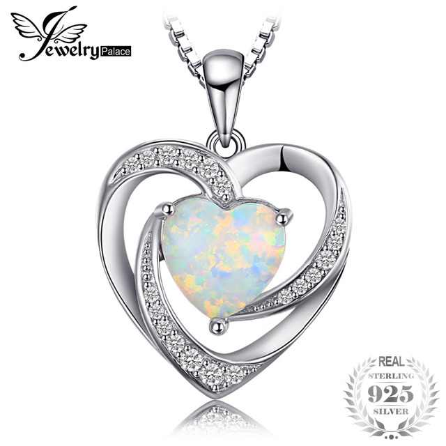 JewelryPalace Fashion 2.54ct Created Opal Heart Necklaces Pendants 925 Sterling