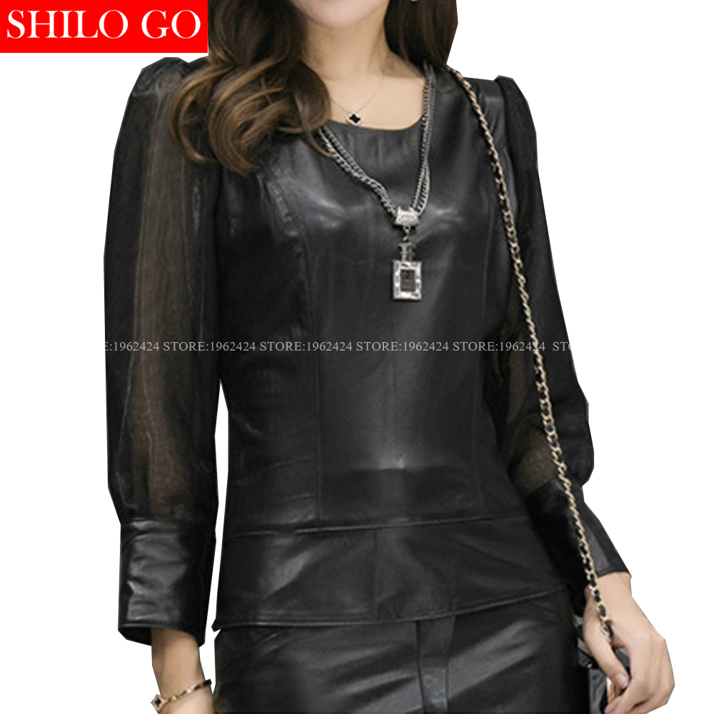 SHILO GO Fashion Street Women's Vintage O Neck Mosaic Chiffon Puff Sleeve Sheepskin Genuine Leather Short Blouse Ladies Blouse