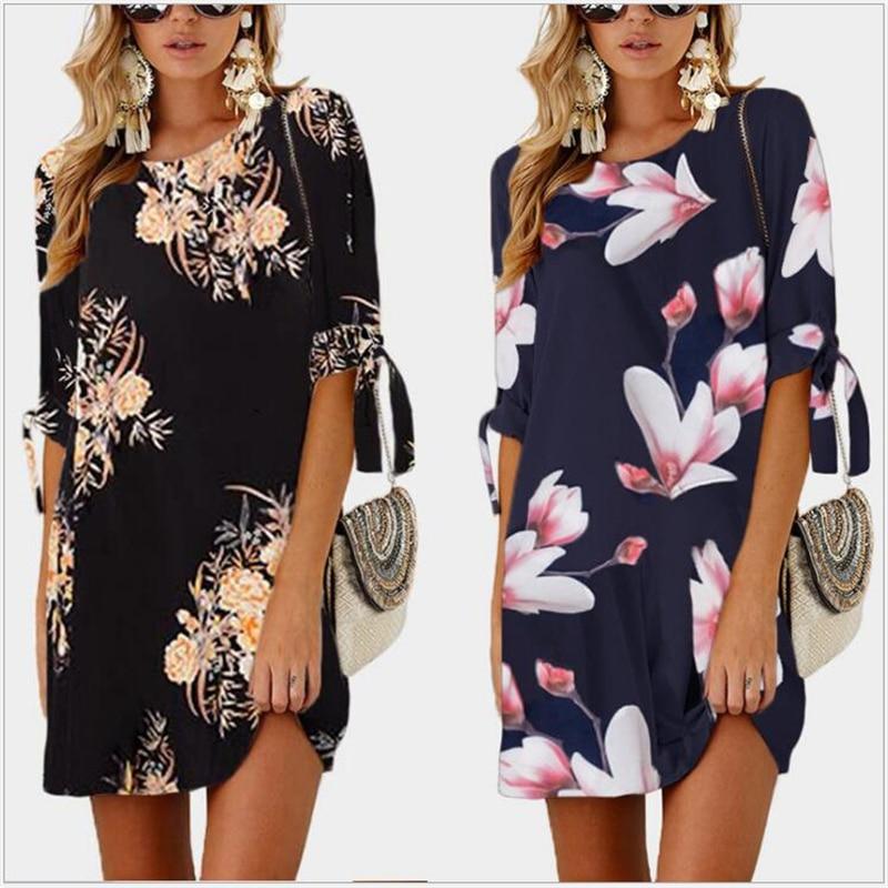 Women Dress 2019 Floral Print Summer Chiffon Dress Boho Style Mini Party Beach Dresses 5XL Vestidos De Fiesta 139