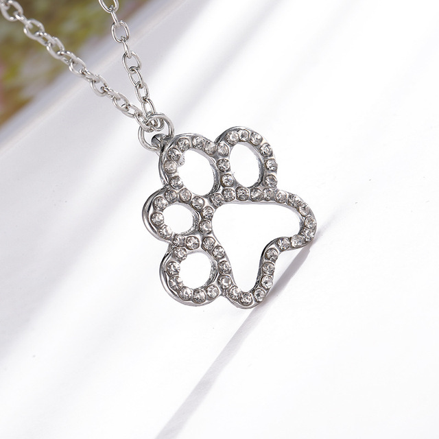 Fashion lovely crystal rhinestone dog paw print pendant necklace fashion lovely crystal rhinestone dog paw print pendant necklace with chain for women girl charm puppy aloadofball
