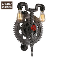 American Retro Loft Industrial Network Personality Cafe Living Room Decorative Iron Pipe Wall Gear