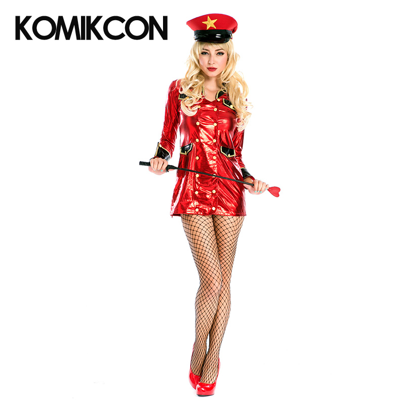 Halloween Sexy Costume for Women Police Military Uniform Instructor Suits Red Dresses With Hat Role Playing Party Full Sets
