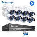 Techage 8CH 1080 P HDMI POE Cámara sistema de seguridad 2MP NVR Kit al aire libre registro de Audio CCTV cámara IP POE P2P video de Vigilancia Conjunto