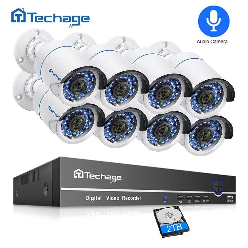 Techage 8CH 1080 P système de caméra de sécurité HDMI POE 2MP Kit NVR enregistrement Audio extérieur CCTV caméra IP POE P2P ensemble de Surveillance vidéo