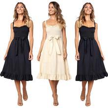 купить 2019 New Yfashion Women Shoulder Strap Fashion Waist-tied Bowknot Dress по цене 743.32 рублей