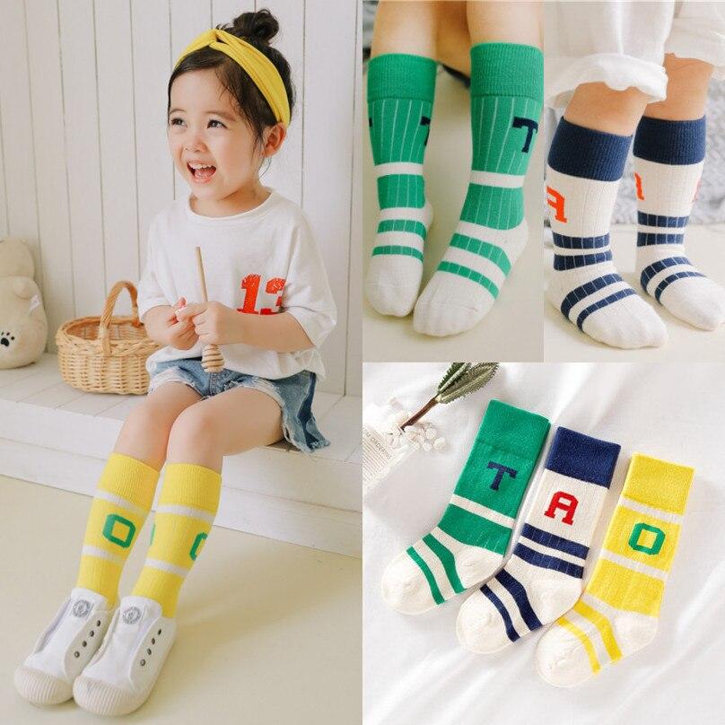 Cute Kids Girls Boys Football Socks Baby Cotton Sports School Socks Knee High Long Leg Warmers Boy Girl Children Socks