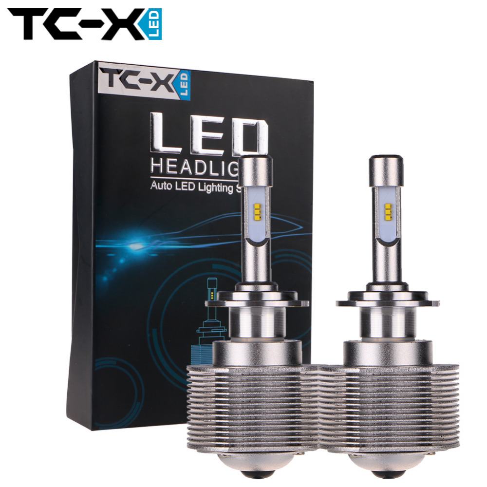 ФОТО TC-X Super Bright H7 LED Headlights Conversion Kit Slim Pin Size for Lens Hole Replace7000 Lumens 6000K Head Light LED Car Light