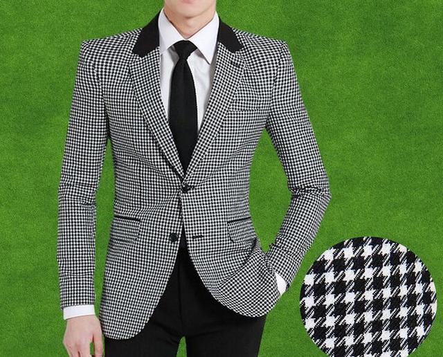 Мужчины шерстяной пиджак уменьшают подходящие птица плед мода пальто новый горячая распродажа англия стиль одной груди высокое качество бизнес куртка