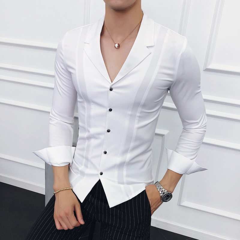 Men Clothes 2018 Suits Collar Shirts Mens White Shirts Mens Blue Designer Shirts Black Camisa Social Masculina Slim Fit Gomlek
