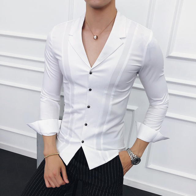 Men Clothes 2018 Suits Collar Shirts Mens White Shirts Mens Blue Designer  Shirts Black Camisa Social 399eeb8483f42