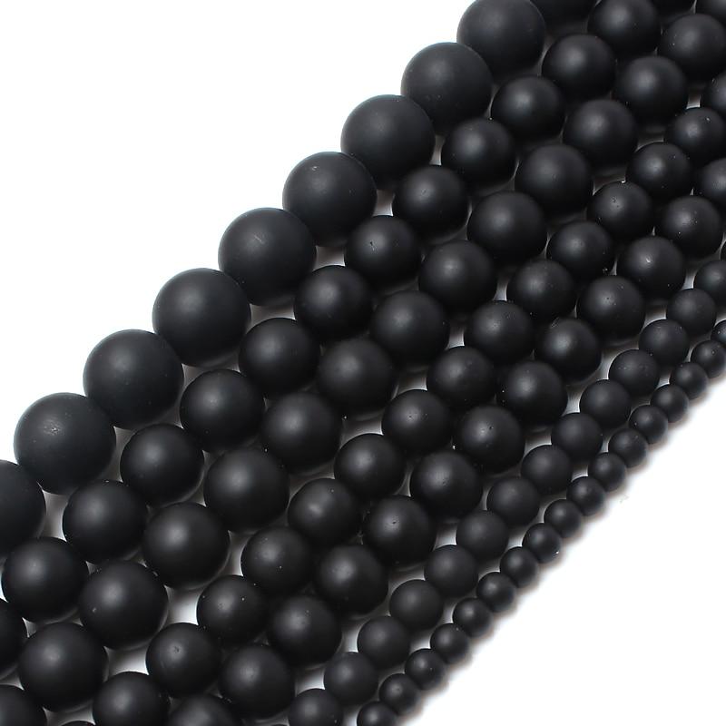 """Liscio Rotondo Nero Dull Polacco Matte Onyx Agate 15.5 """"perline Di Pietra Naturale 4 6 8 10 12 14mm Scelta Formato Per Monili Making-f00059 Crease-Resistenza"""