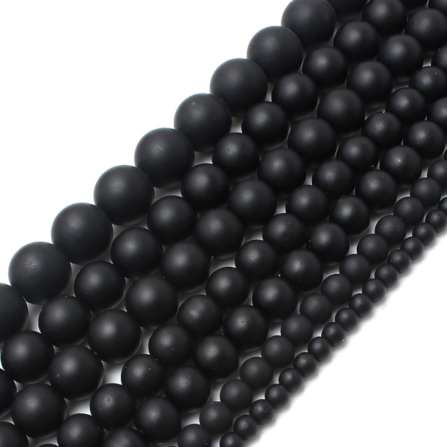 "Pürüzsüz yuvarlak siyah Mat Polonyalı Mat Onyx Agates 15.5 ""doğal Taş Boncuk 4 6 8 10 12 14mm Takı Making-F00059 Için Boyutu Seçin"