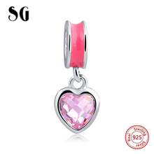 Hot 100% 925 Sterling Silver Pink Heart Charms Fit Authentic European bracelets DIY Fashion jewelry making for women gift