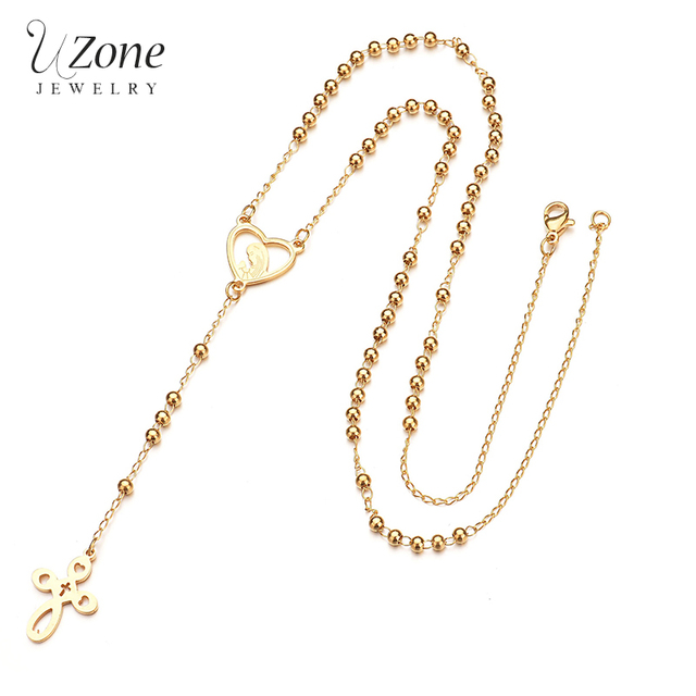 UZone New Christian Jewelry Virgin Mary Gold Color Beads Cross Y