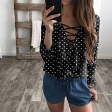 e0479e009eaf49 Fashion Women Ladies Dot Long Sleeve Loose Blouse Summer V Neck Casual Shirt  Tops Black Blue White Red