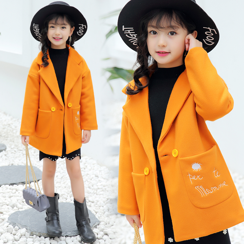 2018 Fall Winter New Girls Casual Long Wool Coat Children's Outerwear Windbreaker Female Child Dustcoat Kids Woolen Jacket A267 2014 woolen female child outerwear bow loose female child spring trench new arrival