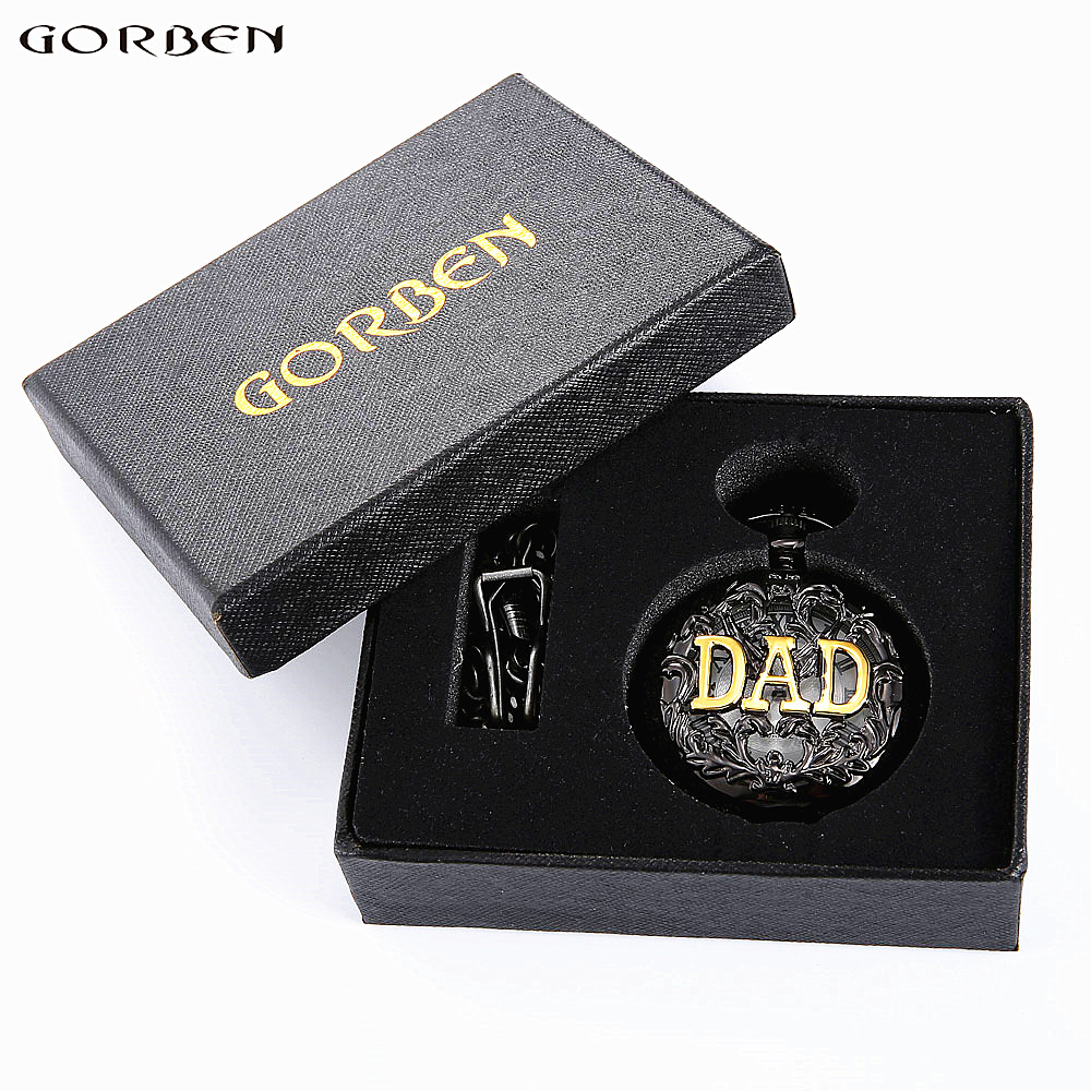 2020 Father's Day Gifts Vintage THE GREATEST Dad & Grandpa Pocket Watches With FOB Waist Chain With Boxes Pocket Watch Gift Set