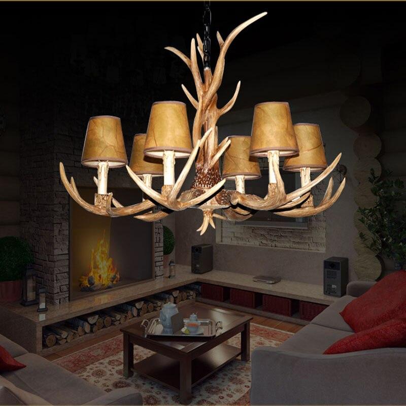 Us 1920 Wsi 6 Głowice żyrandol Oświetlenie Dla Domu Kryty Boże Narodzenie Lampa Pendentes E Nabłyszczania Poroże Drewniane Wisząca Lampa W