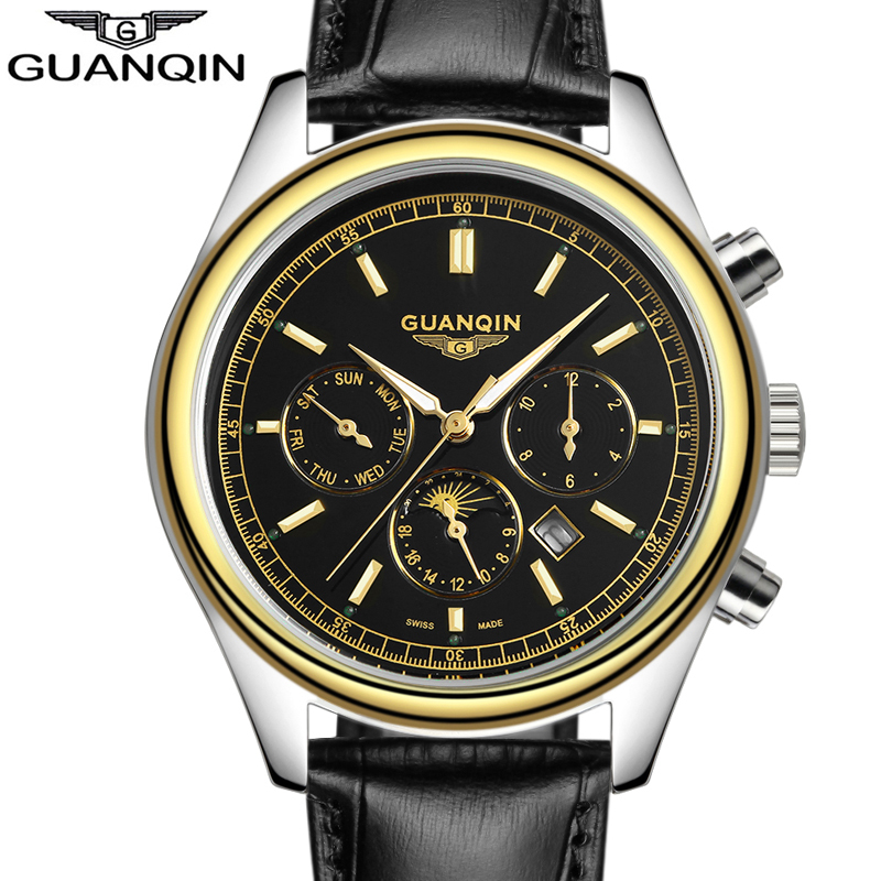 GUANQIN Mens Watches Top Brand Luxury   Luminous Date Clock Male Sport Quartz Watch Leather Wristwatch relogio masculino luxury top brand guanqin watches fashion women rhinestone vintage wristwatch lady leather quartz watch female dress clock hours