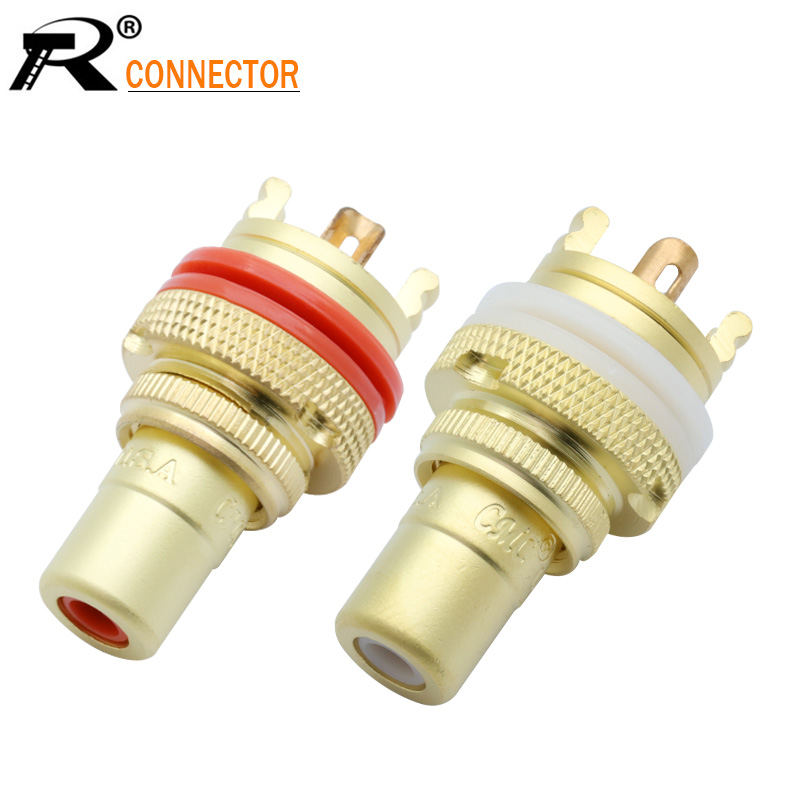 2Pcs/1Pair Luxury Gold Plated RCA Jack Connector Panel Mount Chassis Audio Socket Plug Bulkhead With NUT Solder CUP 3Colors