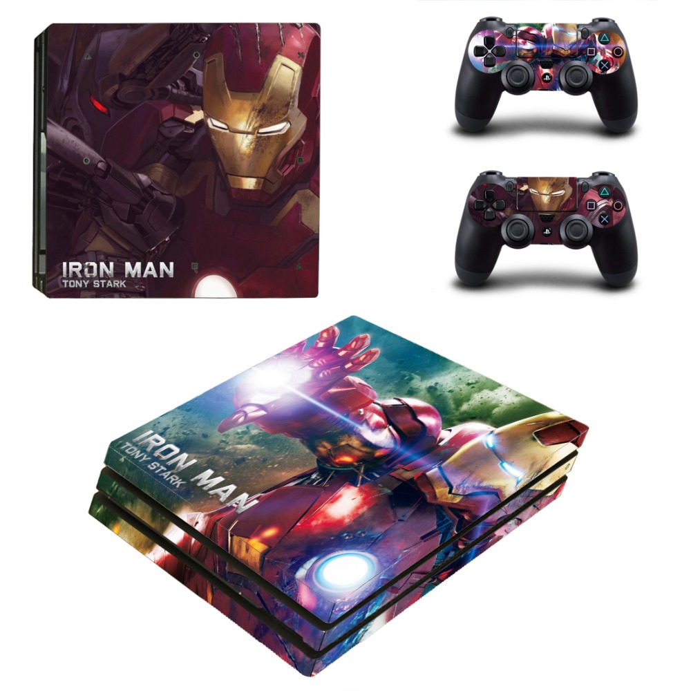PS4 Pro Skin Sticker IRon Man Decal For Playstation 4 Pro Console + Controllers