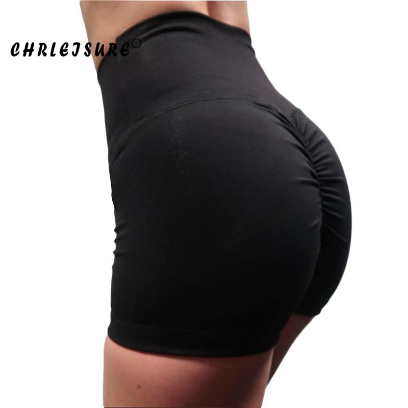 CHRLEISURE pantalones cortos de cintura alta para mujer 2018 poliéster sólido pliegues pantalones cortos respirables Push Up Work Out pantalones cortos femeninos