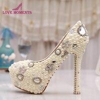 Commercio all'ingrosso Migliore Qualità Stupefacente Elegante Bianco Avorio Perla Del Partito Prom Shoes Vendita Calda Sera Stiletto Da Sposa Scarpe Da Sposa Taglia 10