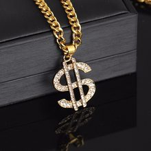 Shellhard Hip Hop Jewelry US Dollar Money Pendant Necklaces Luxury Gold Color Long Chain Necklace Men Women Accessories Necklace(China)