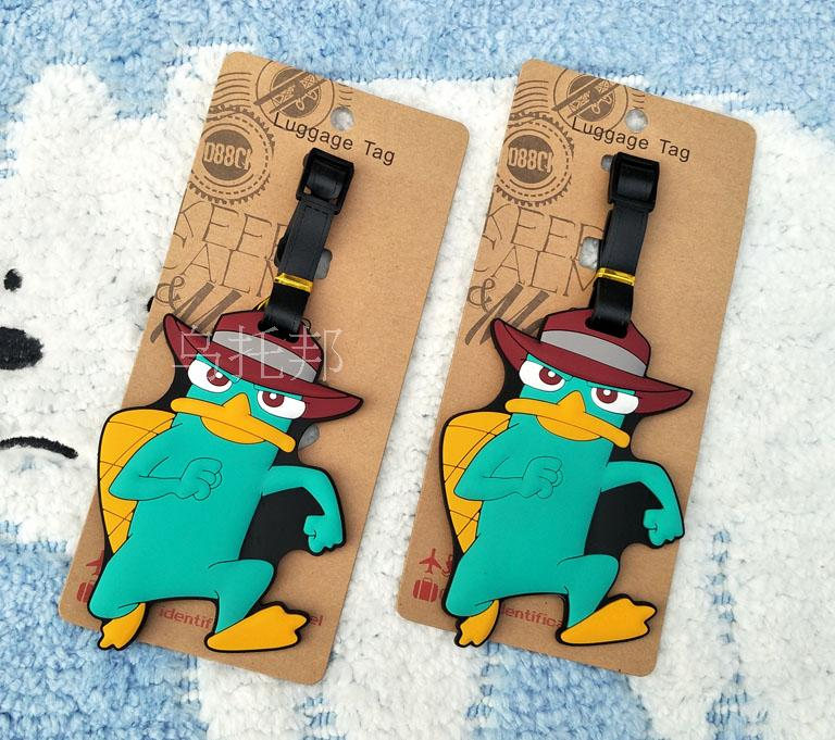 Travel supplies lovely platypus teri soft plastic luggage tag luggage checked boarding card bag tags