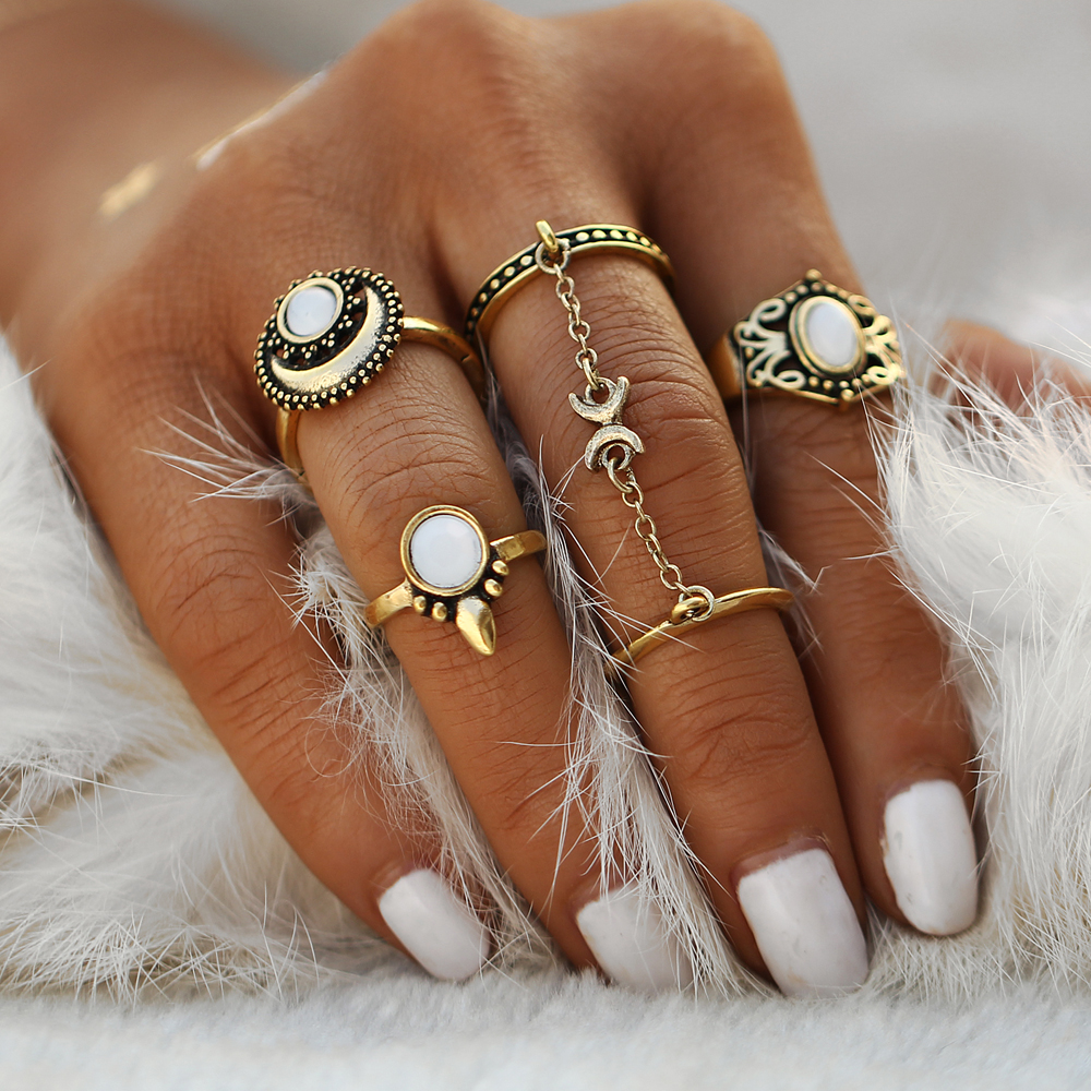 If Me Ethnic Turkish Moon Sun Finger Rings Set Natural