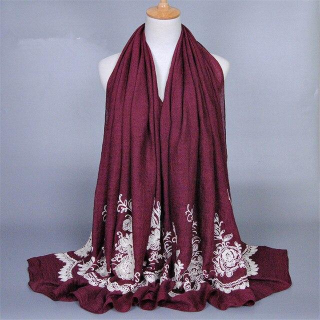 Хлопок, Вышивка Цветок Турецкая Шарф Дамы Шляпу Хиджаб Исламский Над Головой Мусульманский Шляпу Женщин Турецкий Мусульманин Большой Хиджаб Носить