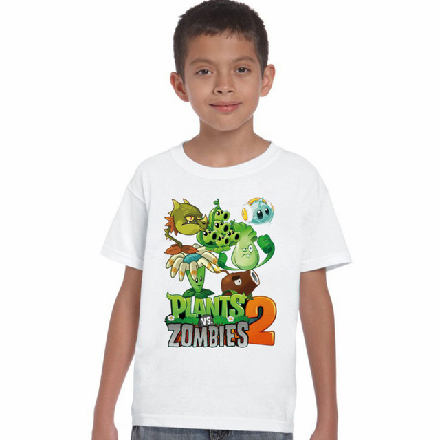 c7d36fc983b6f LYTLM Blanc T-shirt Plantes VS Zombies T-shirts 2018 Casual Bébé enfants  Vêtements