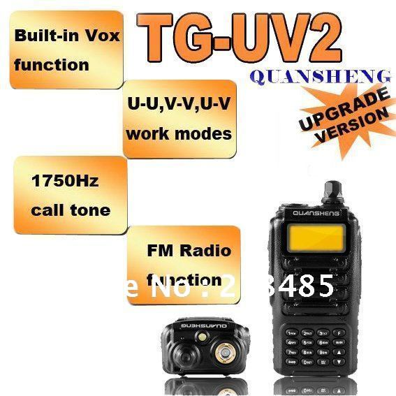 Free Shipping QUANSHENG TG-UV2 Dual Band UHF&VHF LCD Walkie Talkie Two-way Radio for Security, hotel,Ham