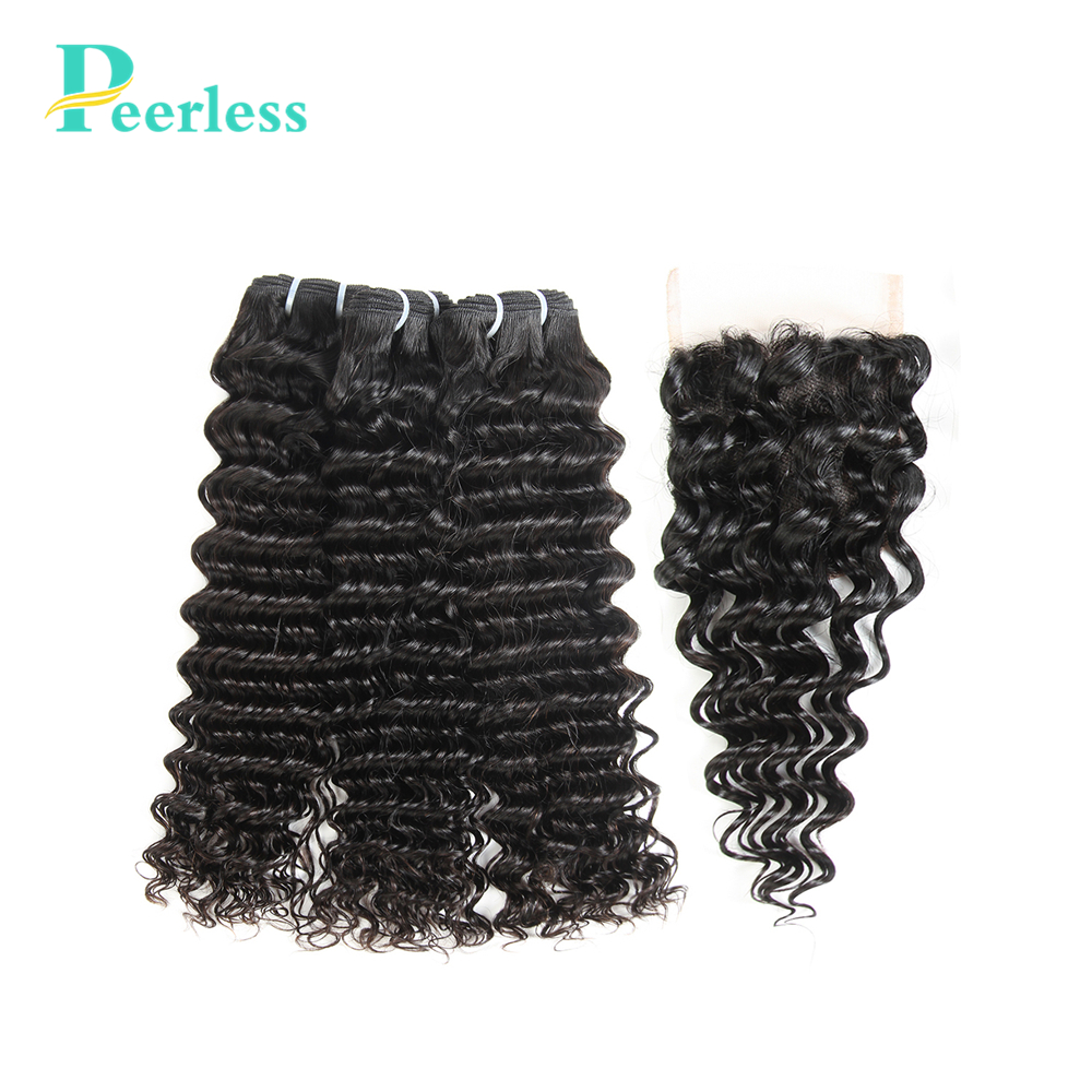 PEERLESS Hair 100% Unprocessed Virgin Human Hair 3 Bundles With Closure Malaysian Deep Wave Hair Extensions Natural Color