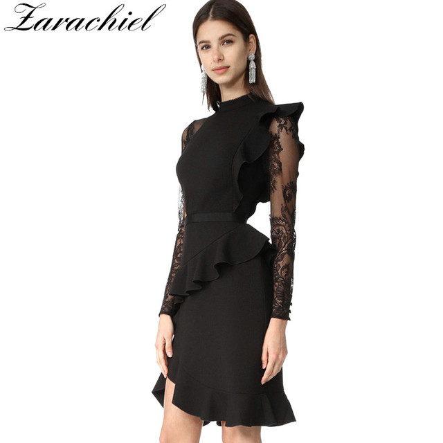 728bfa53991a Self Portrait Summer Runway Ruffles Irregular Lace Patched Dress Women  Vintage Long Sleeve Package Hip Black Bodycon Club Dress