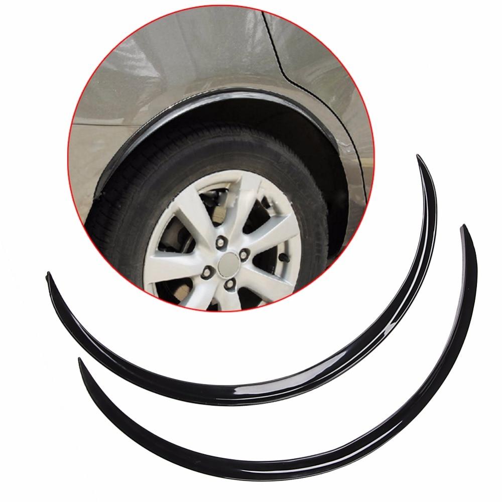 2 piezas negro coche guardabarros Flare rueda labio goma Protector cuerpo Kit ajuste 70 cm
