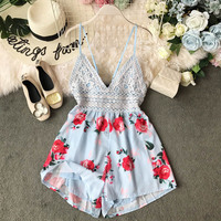 Nicemix Beach Style 2019 Summer Women's Sexy Holidays Printed Playsuits Backless Bow Knot Lacing Hollow Out Ladies Casual Resort