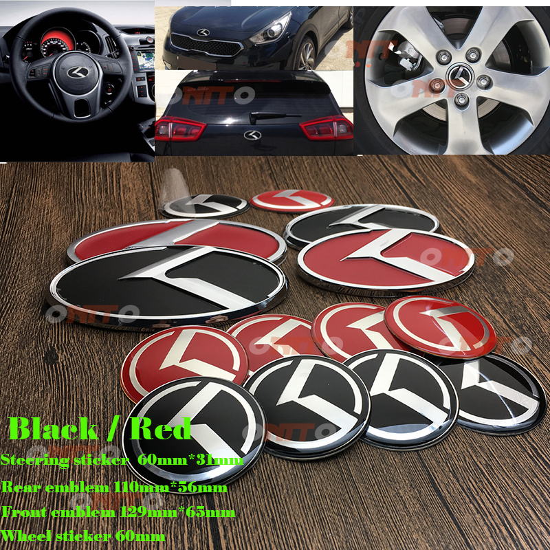 Car Styling red/black 7PCS/SET Front rear emblem auto Wheel sticker Steering stickers For KIA Ceed Sportage Soul Cerato K2 k3 k5 hot selling 3pcs optima k2 k3 k4 k5 sorento car trunk emblem 3d sticker boot logo hood steering wheel label bonnet cover