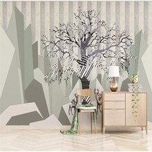 Custom wallpaper Nordic simple elk big tree abstract geometric square background wall painting waterproof material